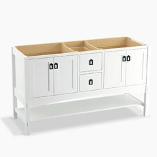 """Marabou 60"""" Vanity Base with 4 Doors and 2 Drawers, Split Top Drawer"""