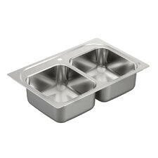 "2000 Series 33"" x 22"" Double Bowl Drop-In Sink"