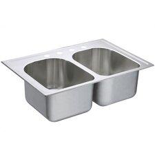 "Lancelot 33"" x 22"" Equal Double Bowl Deep Drop-In Kitchen Sink"
