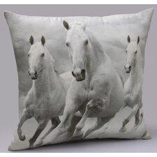 Majestic Horses Cotton Throw Pillow