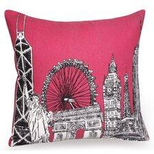 Citta Skyline Hand Printed Cotton Pillow Cover