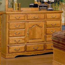 Country Heirloom 12 Drawer Dresser in Medium Wood Finish