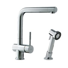 Single Handle Single Hole Arc Spout Kitchen Faucet with Side Spray