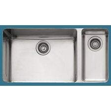 "Kubus 33"" x 17.94"" Double Bowl Kitchen Sink"