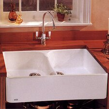 "Manor House 35.5"" x 21.63"" Fireclay Double Bowl Apron Front Kitchen Sink"