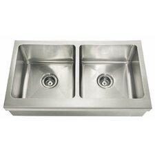 """Manor House 36"""" x 20.88"""" Double Bowl Apron Front Kitchen Sink"""