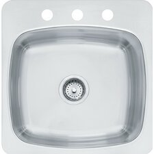 "Axis 18"" x 20.55"" Single 20 Gauge 3 Hole Utility Sink"