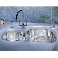 "Prestige 35.63"" x 14.94 - 20.44"" Double Bowl Kitchen Sink"