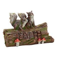 Solar Woodland Faith Log W/Squirrels Statue