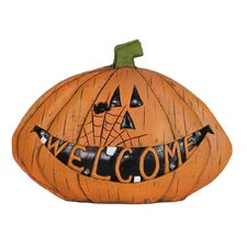 Welcome Pumpkin Statue with Timer