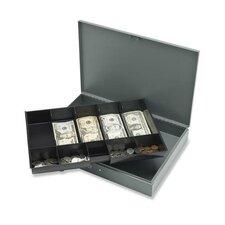 "Cash Box, w/ 2 Keys, 10 Compartments, 12""x19""x3-3/4"", Gray"