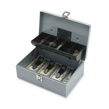 "Cash Box, 5 Compartments, 11-3/8""x7-1/2""x3-3/8"", Gray"