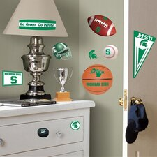 Collegiate Sports Appliqué 25 Piece Michigan State University Wall Decal