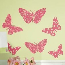 Room Mates Deco 10 Piece Flocked Pink Butterfly Wall Decal