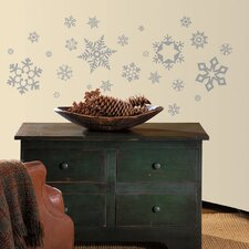 Seasonal Glitter Snowflakes Wall Decal