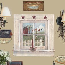 Peel and Stick Giant 9 Piece Outhouse Window and Signs Wall Decal