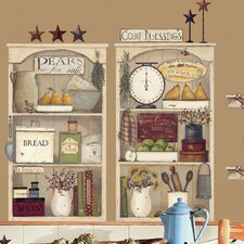 Peel and Stick Giant 17 Piece Country Kitchen Shelves Wall Decal