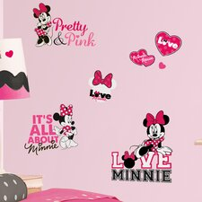 Peel and Stick 28 Piece Mickey and Friends Minnie Loves Wall Decal
