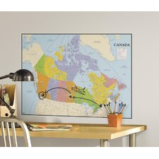 Deco Canada Map Dry Erase Giant Wall Mural