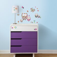 48 Piece Prisma Owls with Butterflies Peel and Stick Wall Decal Set