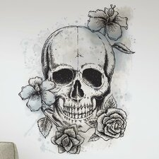 Internet Only Neutral Floral Skull Wall Decal