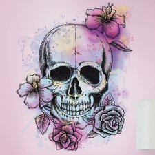 Deco Bright Floral Skull Giant Wall Decal