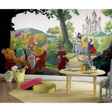 """Disney Princess Snow White """"Happily Ever After"""" Chair Rail Prepasted Wall Mural"""