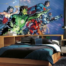 Justice League Chair Rail Prepasted Wall Mural