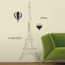 Deco Eiffel Tower Neutral Peel and Stick Giant Wall Decals