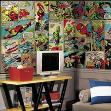 Marvel Comic Panel Chair Rail Prepasted Wall Mural