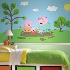 Moose Enterprise Peppa the Pig XL Chair Rail Prepasted Ultra-Strippable Wall Mural