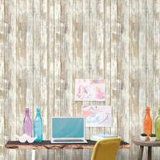 "Peel and Stick 16.5' x 20.5"" Wood Distressed Roll Wallpaper"
