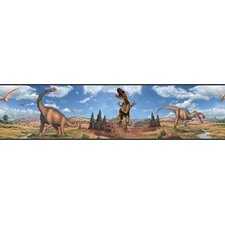"Studio Designs Peel and Stick 15' x 5"" Dinosaur Border Wallpaper"