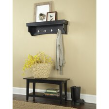 Shaker Cottage 2-Piece Hall Tree Coat Hook and Bench Set