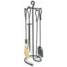 4 Piece Shepherd's Hook Wrought Iron Fireplace Tool Set