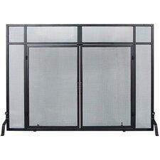 Windowpane 4 Panel Wrought Iron Fireplace Screens with Doors