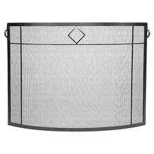 Diamond Curved Wrought Iron Fireplace Screen