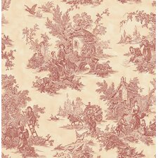 "Country Squire Toile 33' x 20.5"" Prepasted Roll Wallpaper"