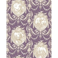 "Cameo Toile 33' x 20.5"" Prepasted Roll Wallpaper"