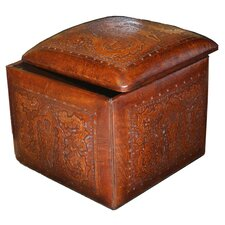 Colonial Leather Box Cube Ottoman