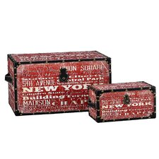2 Piece New York Design Trunk Set