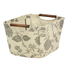 Tapered Storage Bin with Wood Handles in Beige
