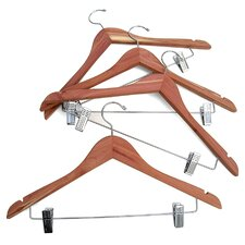 Cedar Hanger with Hanging Clips on Crossbar (Set of 4)