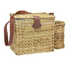 Banana Leaf Picnic Basket with Wine Caddy