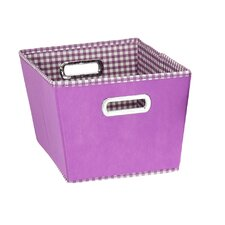 Gingham Tapered Bin in Purple (Set of 2)