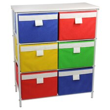 Tower Organization Storage Stand With 6 Bins And 2 Removable Shelves