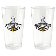NHL 2010 Stanley Champs - Pint Glass Cup (2 Pack) - Chicago Blackhawks
