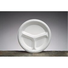 """8.88"""" Elite Laminated Foam Round Plates with 3 Compartments in White"""