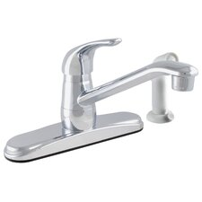 Single Handle Centerset Exquisite Low Lead Kitchen Faucet with White Side Spray
