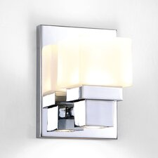 Kube Chrome 1 Light Etched LED Wall Sconce with Downlight